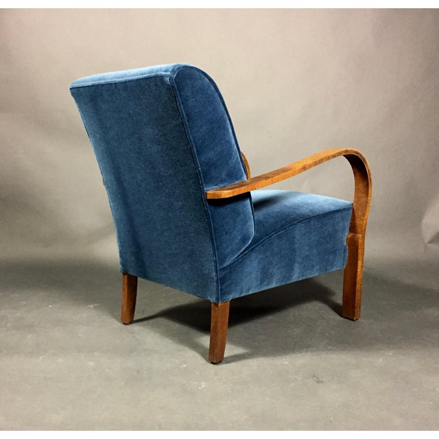 Late 1930s Danish Oak Armchair, New Mohair Upholstery For Sale - Image 9 of 10