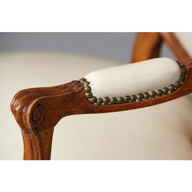 White Louis XV Style Walnut Fauteuil in Nail Trimmed Creme Leather For Sale - Image 8 of 10