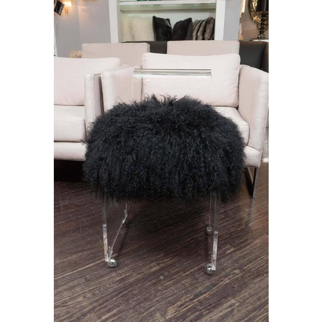 Custom Acrylic Black Mongolian Side Chair For Sale In New York - Image 6 of 6