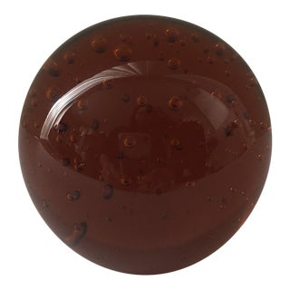 1990s Amber Brown Glass Bubble Paper Weight For Sale