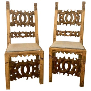 Set of 10 18th Century Italian Renaissance Revival Carved Dining Chairs & Table For Sale