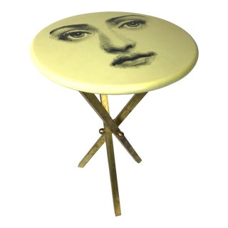 1980s Hollywood Regency Piero Fornsetti Lina Cavalieri Tripod Table For Sale