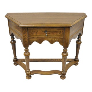 Ethan Allen Royal Charter Oak Wood Console Hall Table One Drawer Vintage Stand