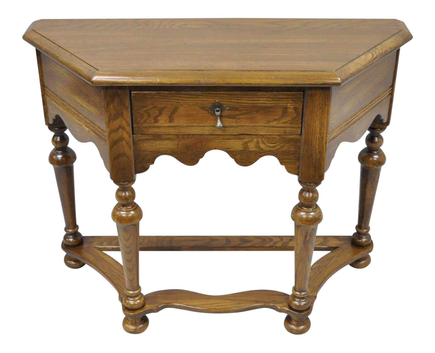 Beau Ethan Allen Royal Charter Oak Wood Console Hall Table One Drawer Vintage  Stand