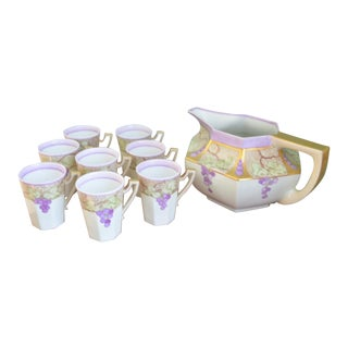 Limoges T & V / La Seynie Pitcher & Mugs - 9 Pc. Set