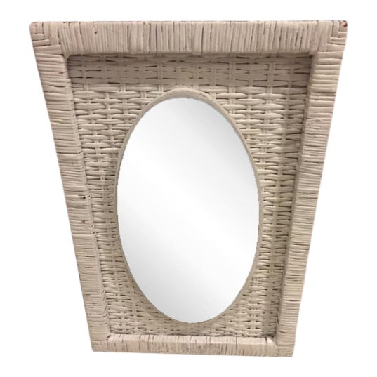 Vintage Cottage Style Wicker Mirror - Image 1 of 4