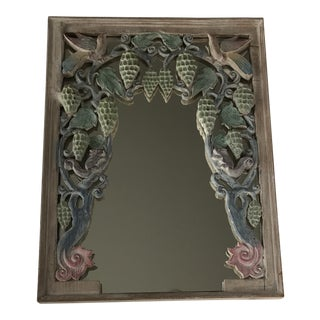 Hand Carved Wood Mirror With Birds For Sale