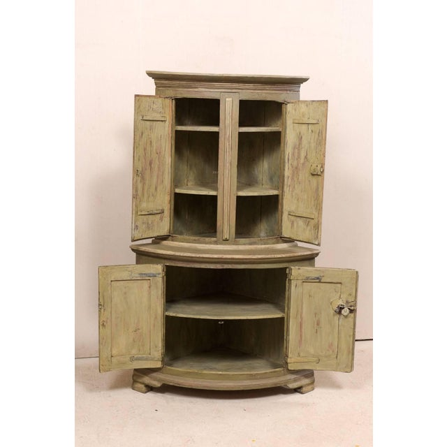 Green 18th Century Antique Gustavian Swedish Painted Wood Corner Cabinet For Sale - Image 8 of 12