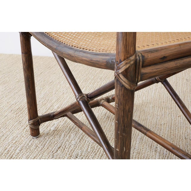Set of Eight McGuire Bamboo Rattan Cane Dining Chairs For Sale - Image 12 of 13