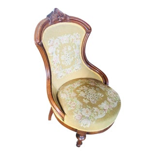 1860 Antique Renaissance Revival Needlepoint Slipper Chair For Sale