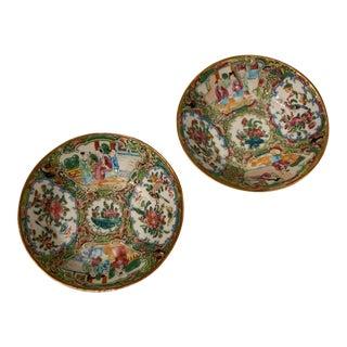 Antique Rose Medallion Porcelain Dishes - Set of 2 For Sale