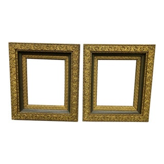 19th Century Gilt Gesso Wood Art Frames- a Pair For Sale