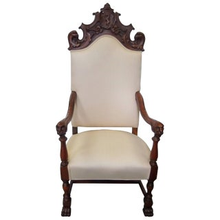 1900s Jacobean Carved Walnut Lolling Throne Chair For Sale