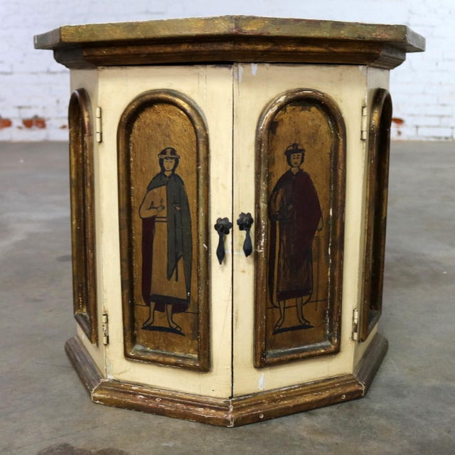 Vintage Hand Painted Octagon Drum Side Table Cabinet Attributed to Arte De Mexico For Sale - Image 13 of 13