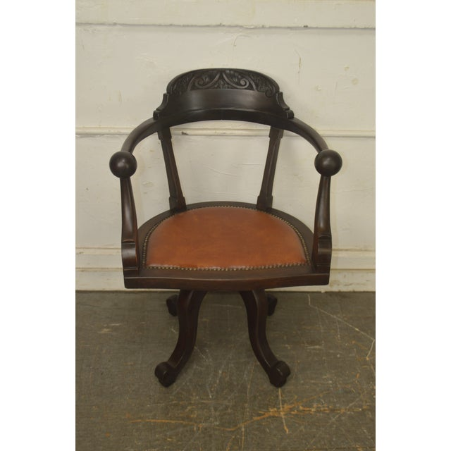 Mid 19th Century Victorian Antique Mahogany Swivel Desk Chair For Sale - Image 5 of 13
