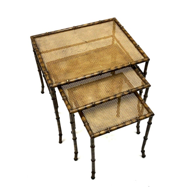 Mid 20th Century 20th Century Chinoiserie Faux Painted Steel Bamboo Nesting Tables - Set of 3 For Sale - Image 5 of 12