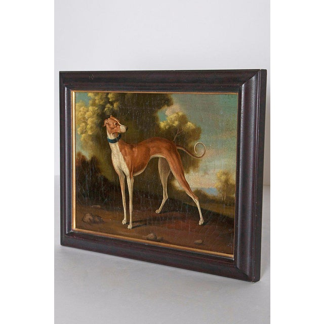 "A realistically painted oil on canvas of a Whippet standing in a landscape. As found. Image measures: 12"" H x 16"" W"