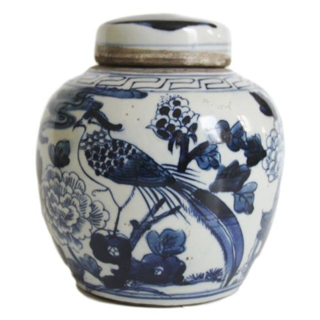 This petite blue and white bird ginger jar is the perfect little Chinoiserie accent for your home. This jar has peonies on...