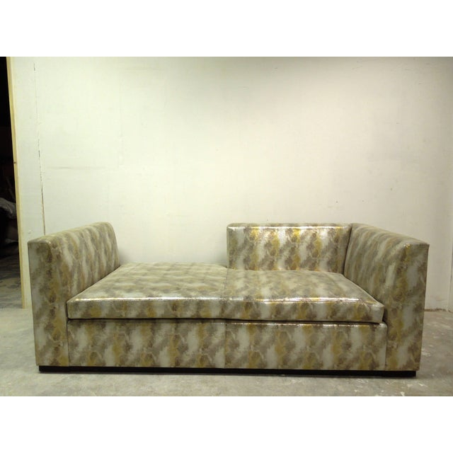 Contemporary Custom Made Modern Metallic Leather Sofa/Chaise For Sale - Image 4 of 6