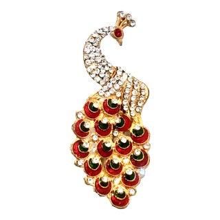 Art Deco Gold Enamel & Austrian Crystal Peacock Brooch-Necklace Pendant For Sale