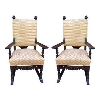 Fortuny Fabric Carved Wood Arm Chairs - a Pair For Sale