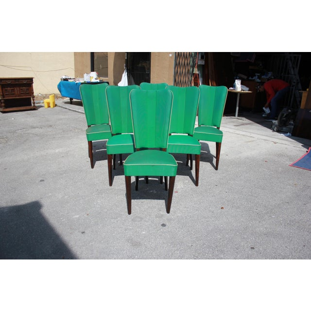 Monumental Set OF 6 French Art Deco Solid Mahogany Dining Chairs By Jules Leleu Circa 1940s - Image 9 of 13