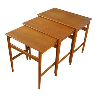 Hans Wegner for Andreas Tuck Danish Modern Teak Nesting Tables For Sale