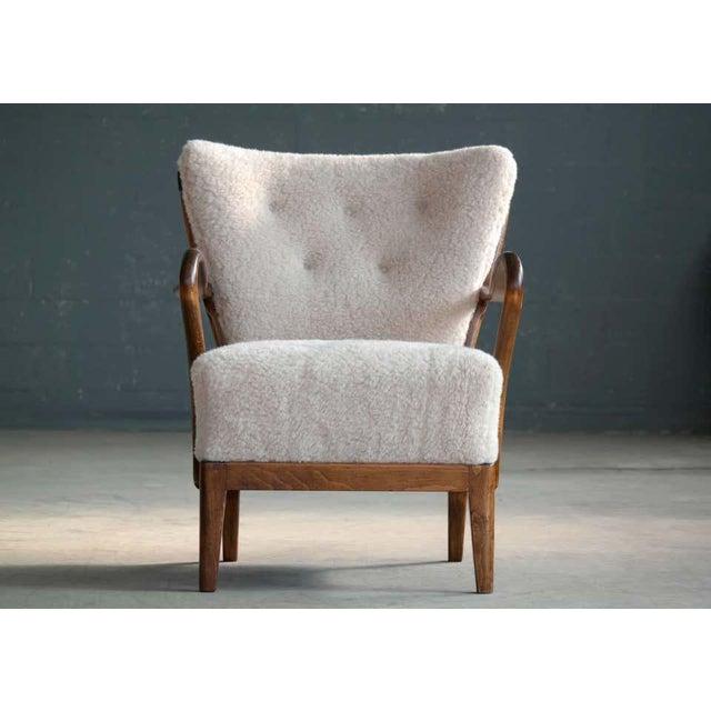 Art Deco Slagelse Mobelvaerk Model 117 Lounge Chair in Lambswool Danish Midcentury For Sale - Image 3 of 9