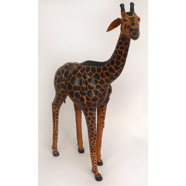 Modern 4 Foot Tall Leather Giraffe Sculpture For Sale - Image 3 of 11