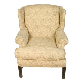 Upholstered English Mahogany Wingback Chair For Sale