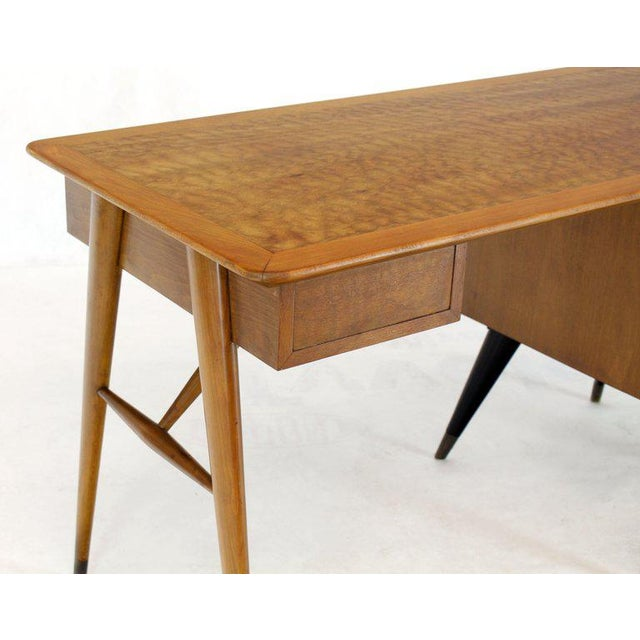Italian Birch Tiger Maple Exposed Sculptural Legs One Pedestal 4 Drawers Desk For Sale - Image 6 of 13