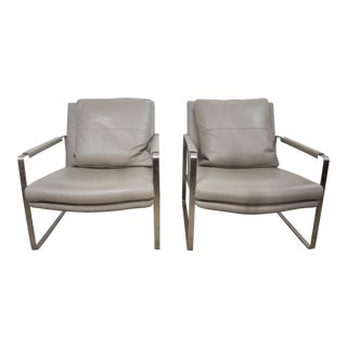 Pair of Mid Century Modern Stainless Steel Gray Leather Lounge Chairs For Sale