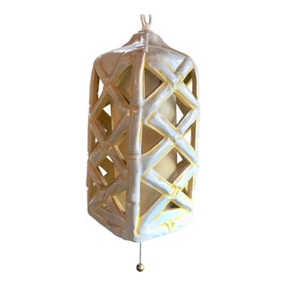 1960s Bamboo Ceramic Swag Light For Sale