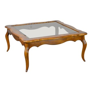 Ethan Allen Country French Solid Maple Square Glass Top Coffee Table For Sale