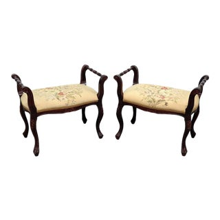 Early 20th Century Vintage Regency Style Needlepoint Benches- A Pair For Sale