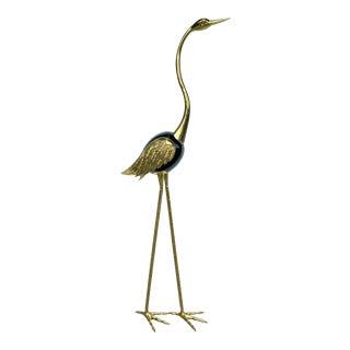 Vintage Large Brass Stylized Stork by Antonio Pavia