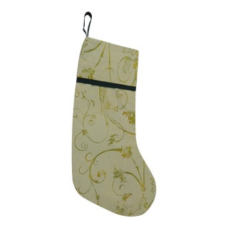 1990s Vintage Artisanal Green Holiday Double-Sided Gift Stocking For Sale