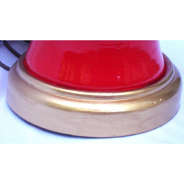 Hollywood Regency Red Lacquer Ceramic Lamp - Image 9 of 11