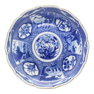 Japanese Pictorial Blue & White Imari Painted Decorative Plate, Artist Signed For Sale