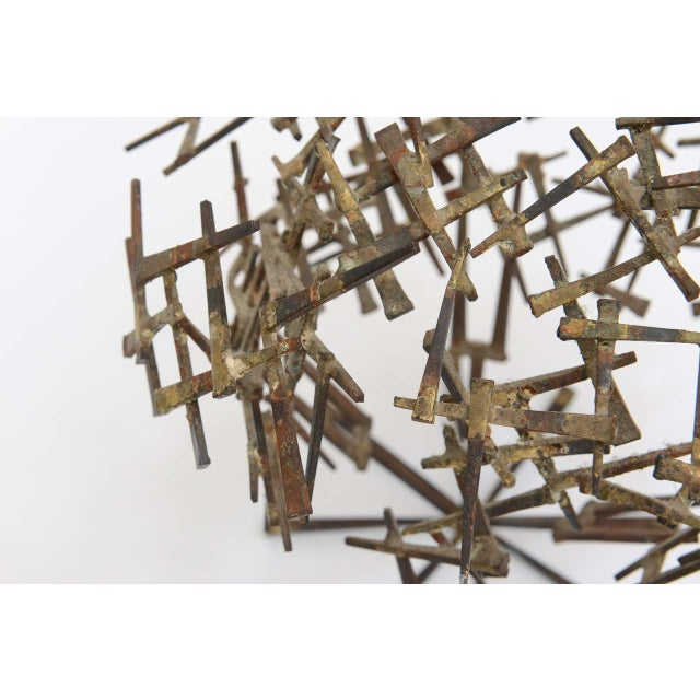 Gold Vintage Brutalist Abstract Nail Tabletop Sculpture For Sale - Image 8 of 11