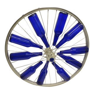Modern Blue Bottles on a Bike Wheel Sculpture For Sale