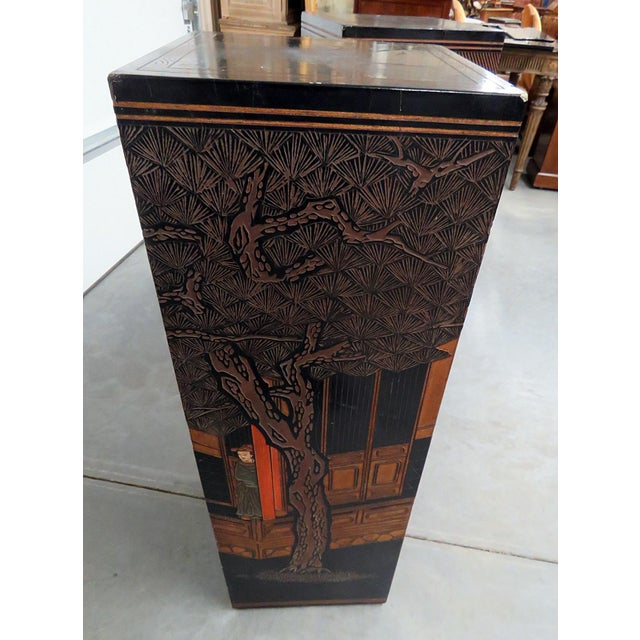 Mid-Century Oriental Ebonized Pedestals - a Pair For Sale - Image 11 of 12