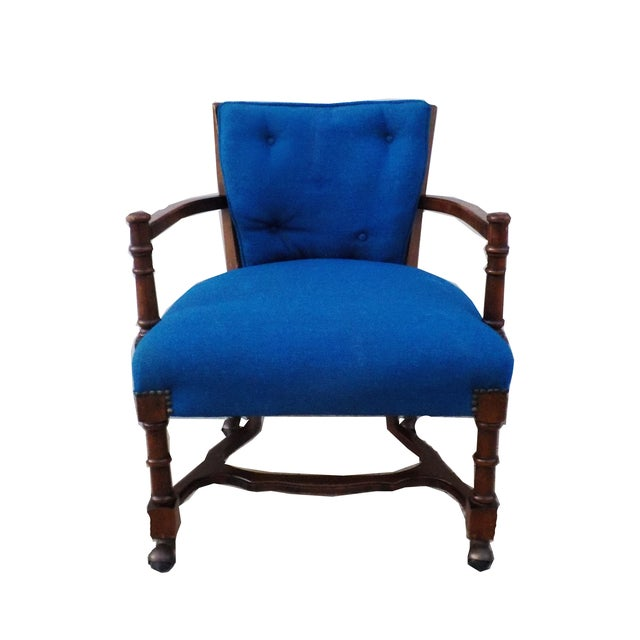Hollywood Regency Wood Desk Chair with Caning - Image 1 of 6
