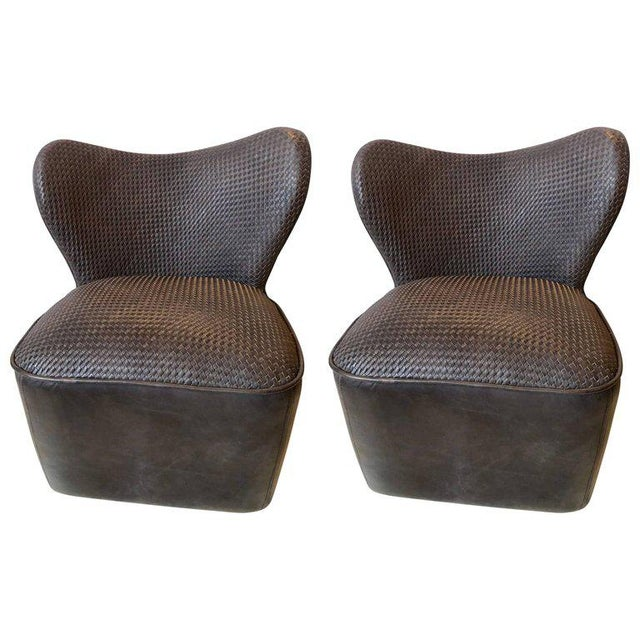 Modern Woven Charcoal Grey Leather Seat and Backrest Side Chairs - a Pair For Sale - Image 9 of 9