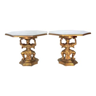 Antique Figural Italian Faux Marble & Gilt Wood Figural 'Chinoiserie' Side / End Tables by Fratelli Paoletti (Early 20th. Century), a Pair For Sale