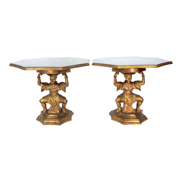 Antique Figural Italian Gilt Figural 'Chinoiserie' Side / End Tables by Fratelli Paoletti (Early 20th. Century), a Pair For Sale