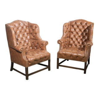 Vintage Wingback Tufted Leather Chairs - a Pair For Sale