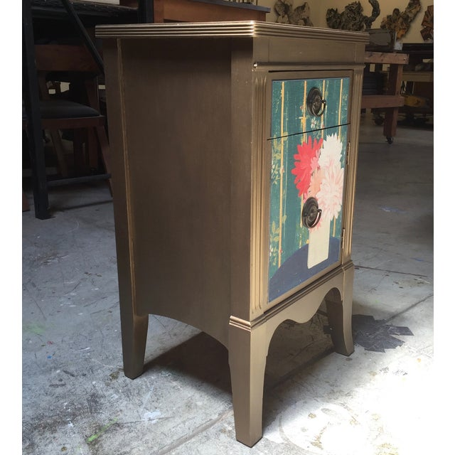 Metallic Gold Nightstand With Floral Linen Panel For Sale - Image 7 of 10