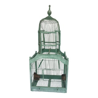 Decorative & Useful Vintage Green Wood Domed Bird Cage With Finial, 20th C. For Sale