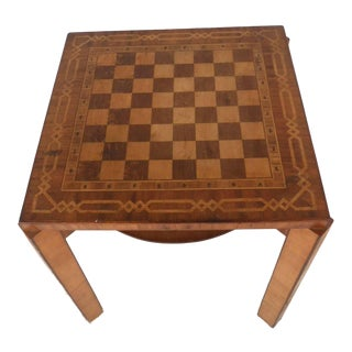 Unique Vintage Decorative Inlay Chess & Gaming Table For Sale